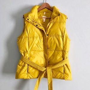 Lands' End Golden Yellow Down Puffer Vest + Belt